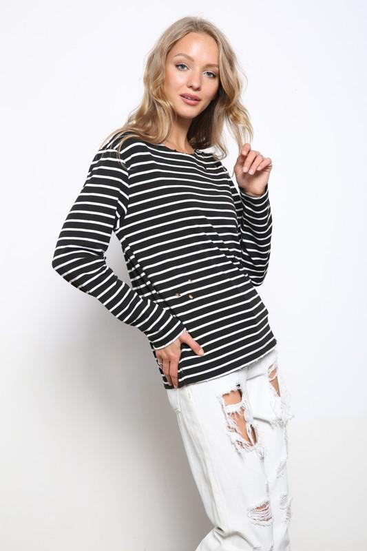 Distressed Black & Ivory Striped Top