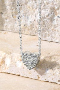 Pave Crystal Heart Charm Necklace