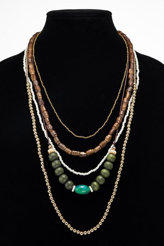 Pine Green Wooden, Metal & Glass Bead Necklace