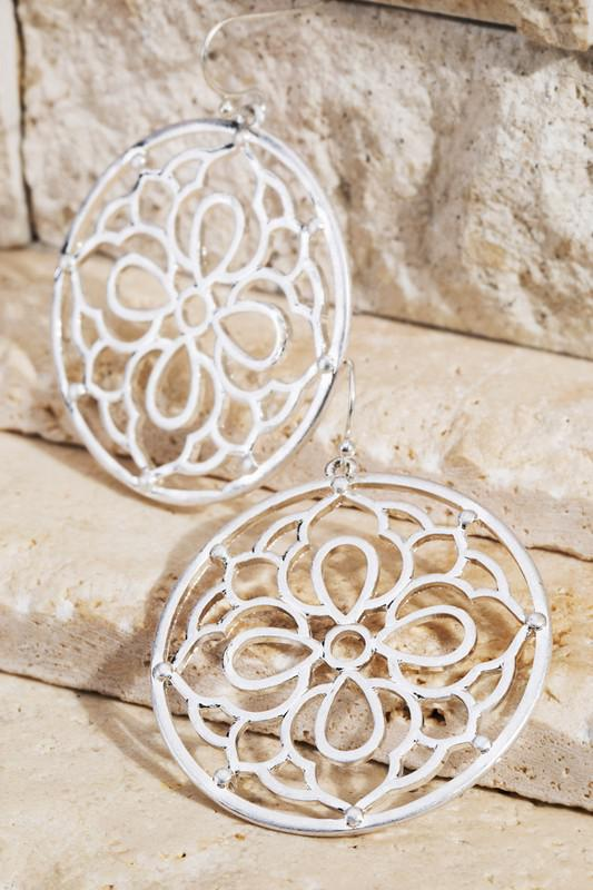 Floral Filigree Round Silver Earrings