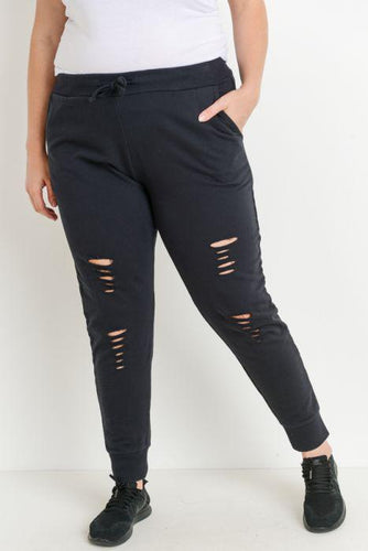 Plus Raw Cut Garment Died Drawstring Joggers
