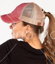 Load image into Gallery viewer, CC Washed Denim Crossed Elastic Band Mesh Ponytail Cap