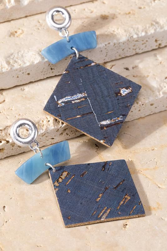 Blue Cork Diamond Shape Earrings