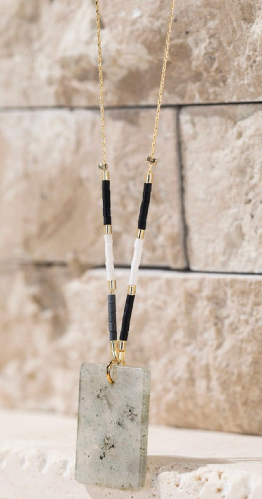 Rectangle Stone & Seed Bead Necklace