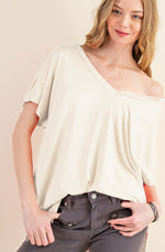 V-Neck Loose Fit Cropped Top