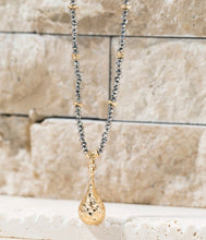 Load image into Gallery viewer, Hammered Metal Tear Drop Pendant Necklace