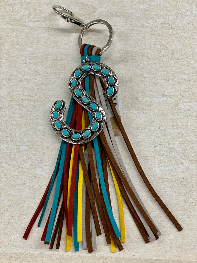 Turquoise Initial Keychain w/Tassel
