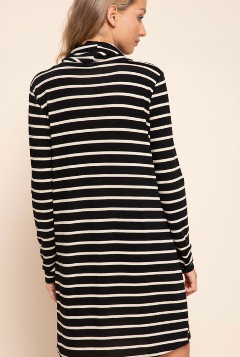 Striped Cowl Neck Dress