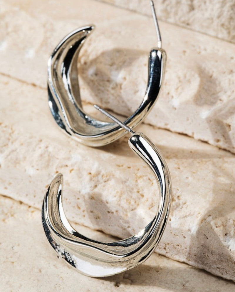 Silver Glossy Hoop Earrings