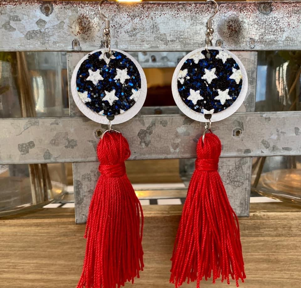Patriotic Tassel Earrings