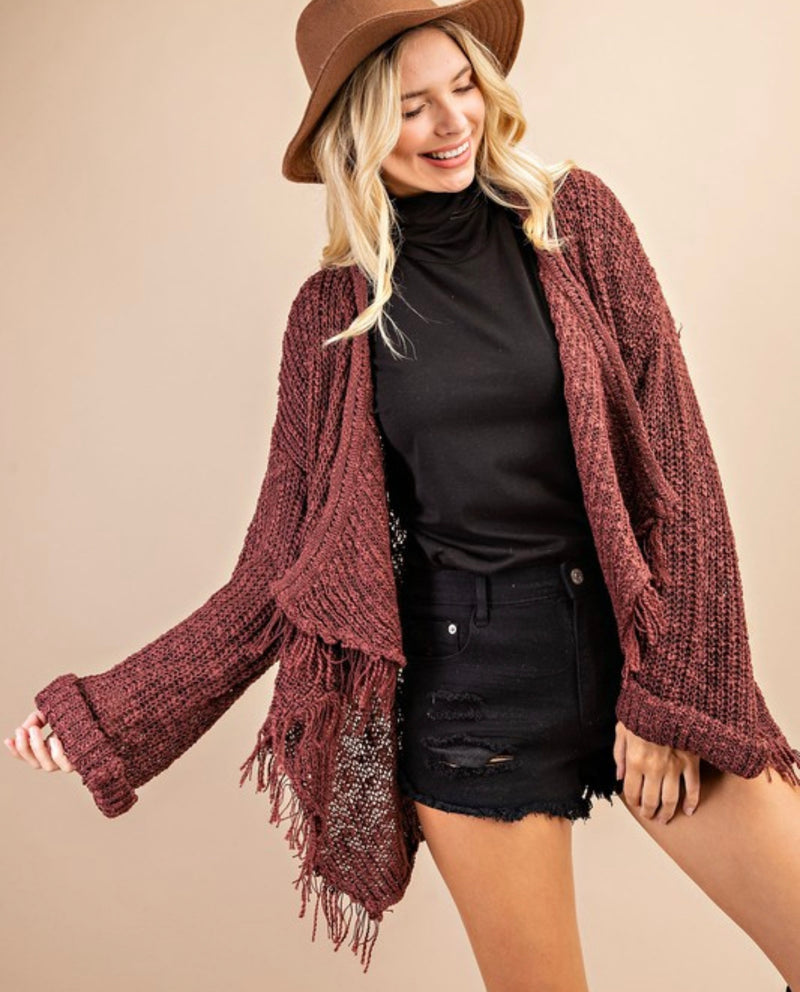 Red Brown Frayed Draped Cardigan