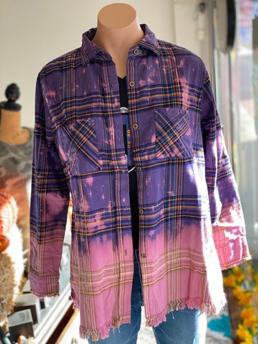 Purple Bleached Frayed Plaid