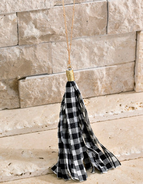 Gingham Fabric Tassel Necklace