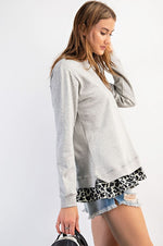 Terry Knit Top w/Leopard Ruffle