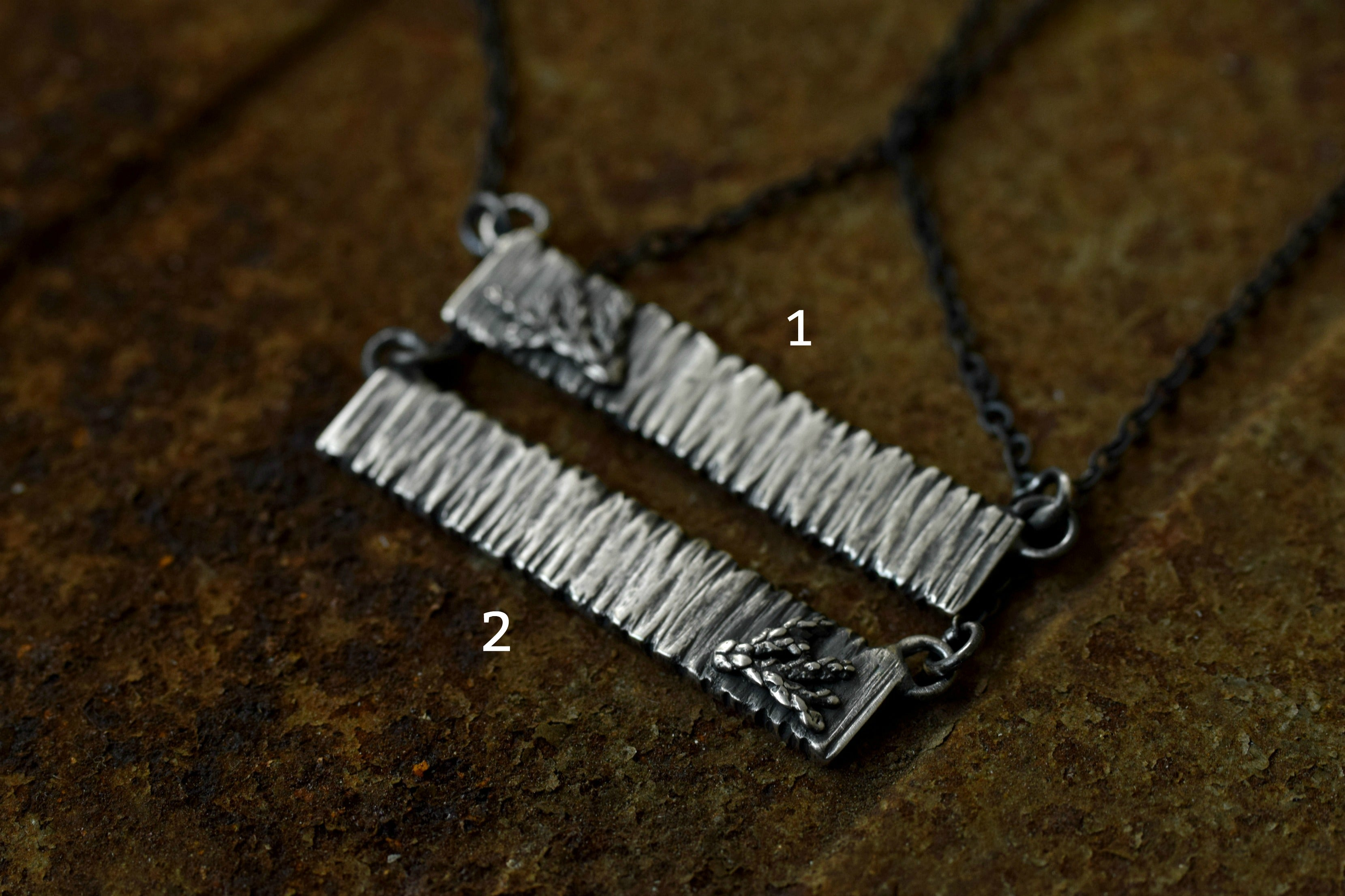 XTree Bark Bar Necklace - Bar Necklace - Silver Bar Necklace - Sterling Silver - Silver Fern - Tree Necklace - Woodland Necklace - Fern