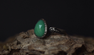 Chrysoprase Fern Ring - Size 8