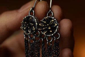 Bronze & Sterling Succulent Dangles