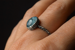 Aquamarine Fern Ring - Size 8