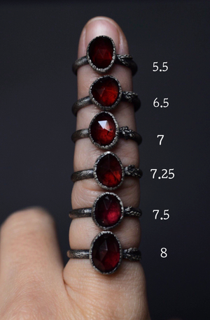 Garnet Fern Ring - Size 7.25