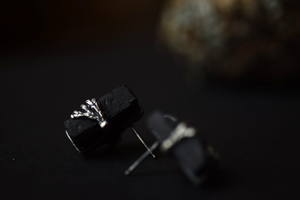 Raw Black Tourmaline Post Earrings