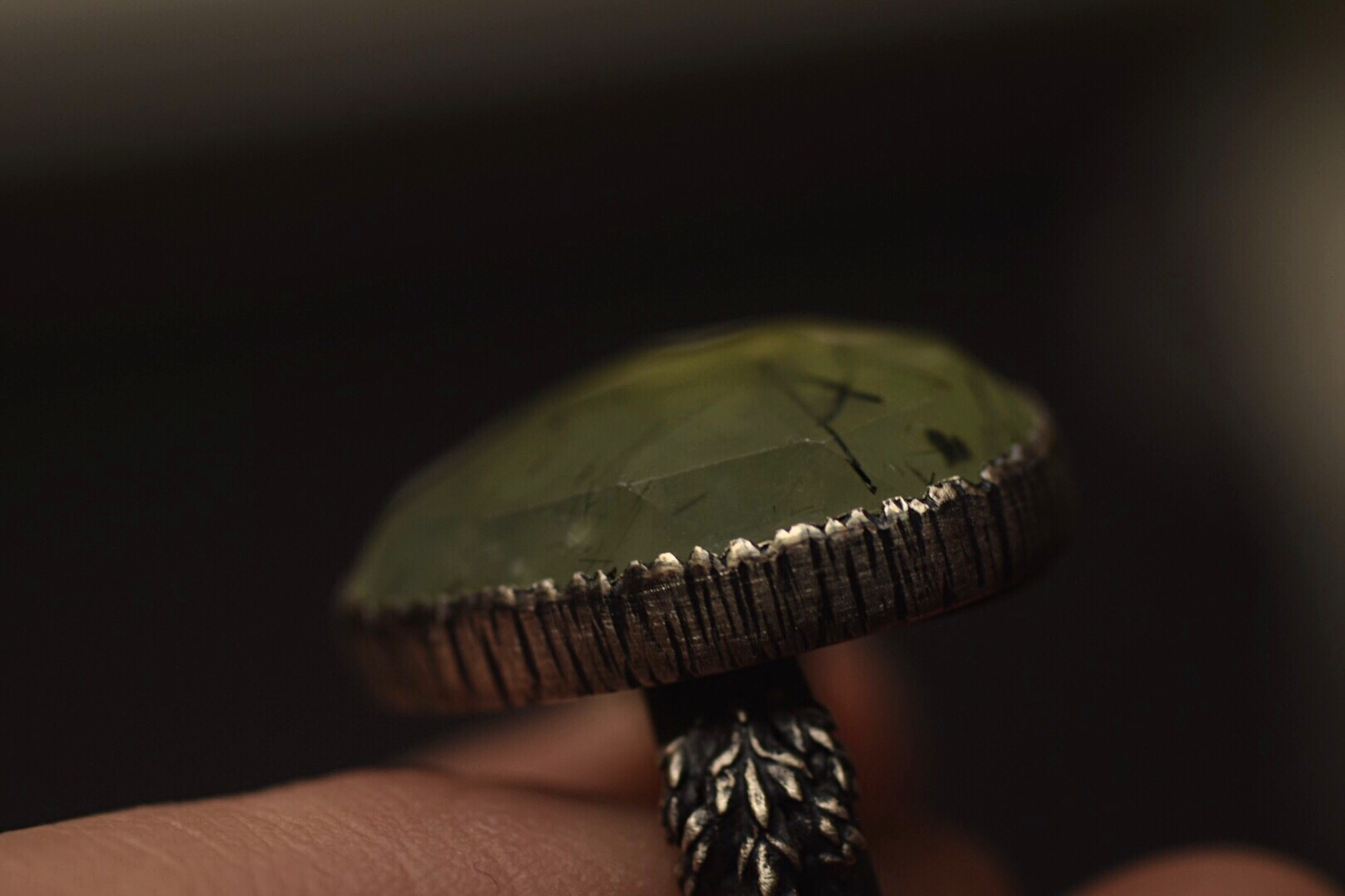 Faceted Prehnite Statement Fern Ring