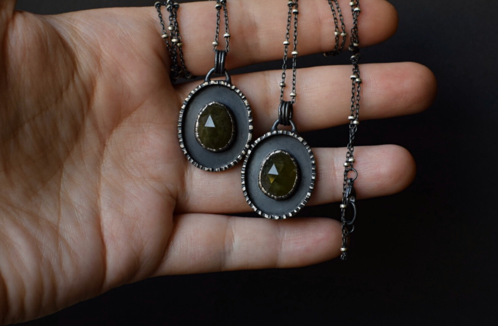 Vesuvianite & Bark Necklace