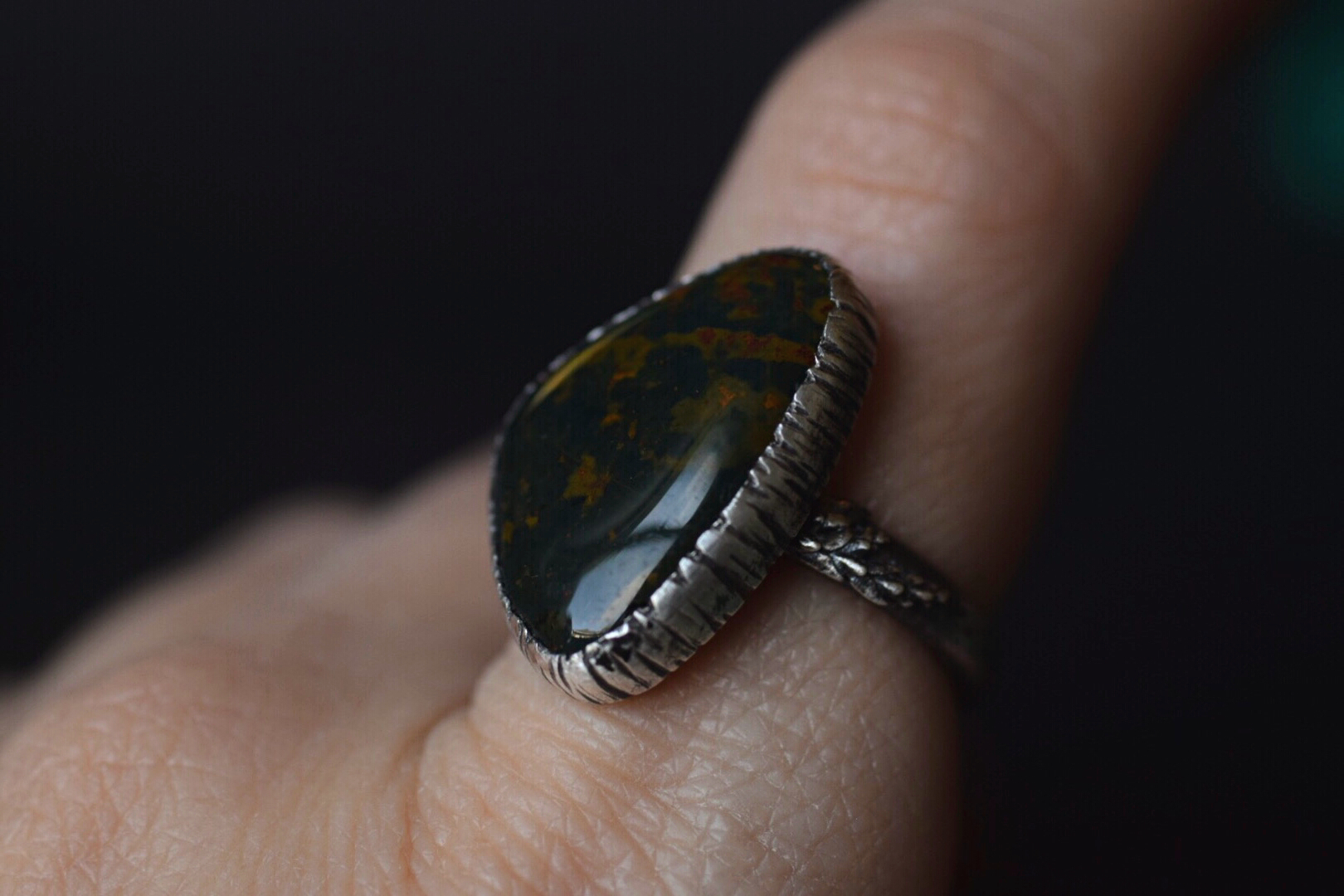 Bloodstone Fern Ring - Size 8