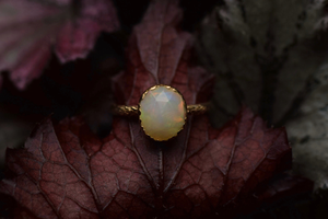 Opal and Yellow Gold Fern Ring