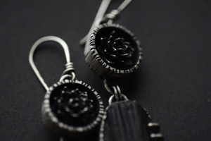 Raw Black Tourmaline Dangles