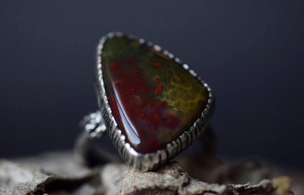 Bloodstone Fern Ring - Size 7