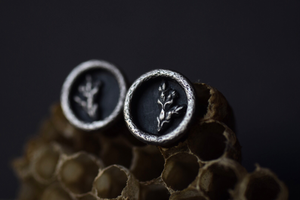 Round Fern Shadowbox Earrings