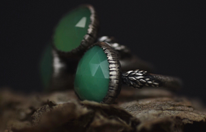 Chrysoprase Fern Ring - Size 7.5