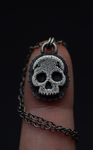 "Marigold Skull Necklace- 16"" Chain"