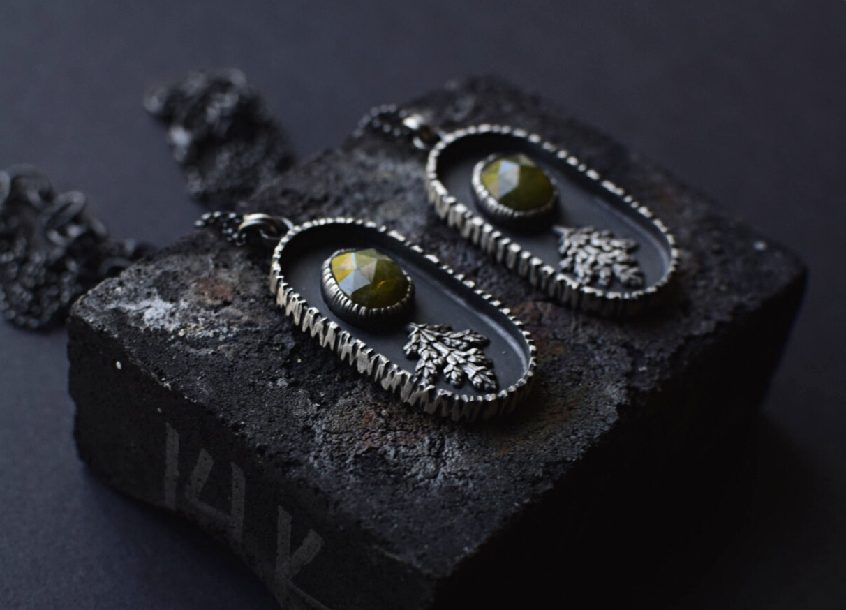 Vesuvianite & Fern Shadowbox Necklaces
