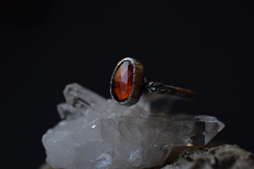 Hessonite Garnet Fern Ring - Size 5
