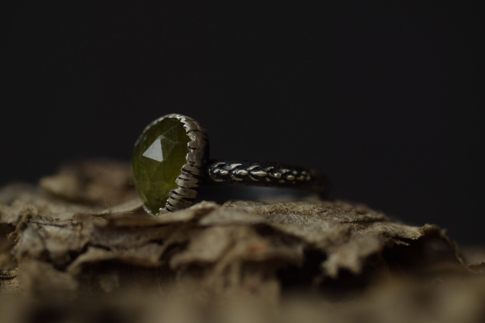 Vesuvianite Fern Ring - Size 6