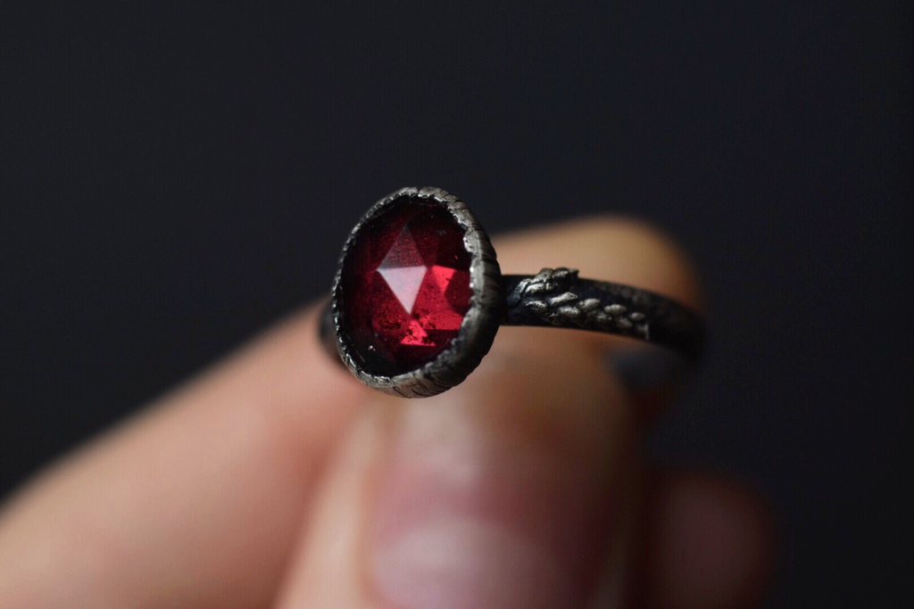 Garnet Fern Ring - Size 7.5