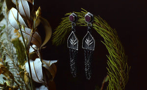 Raw Ruby Fern Shrine Dangle Earrings