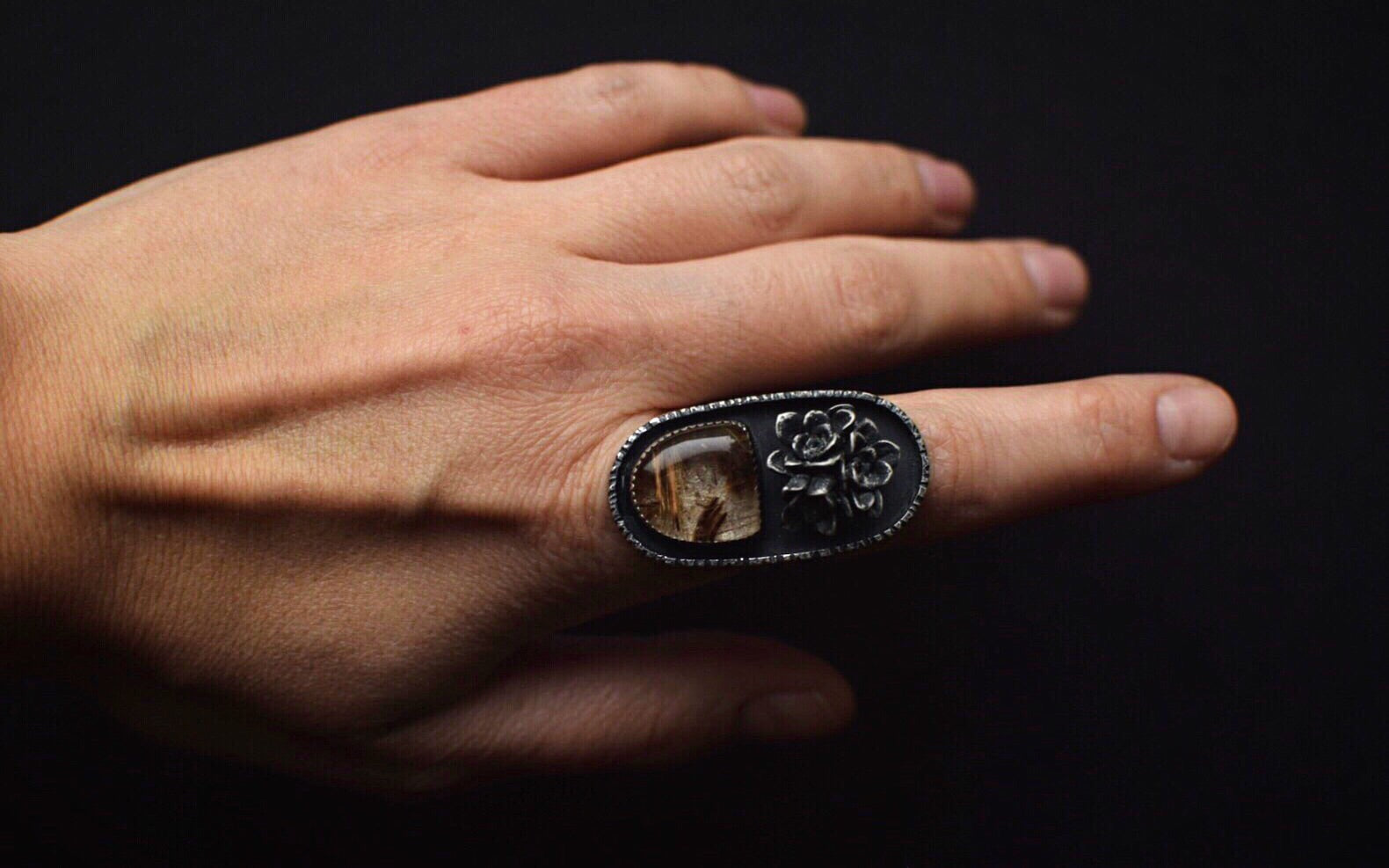 Golden Rutilated Quartz Statement Ring