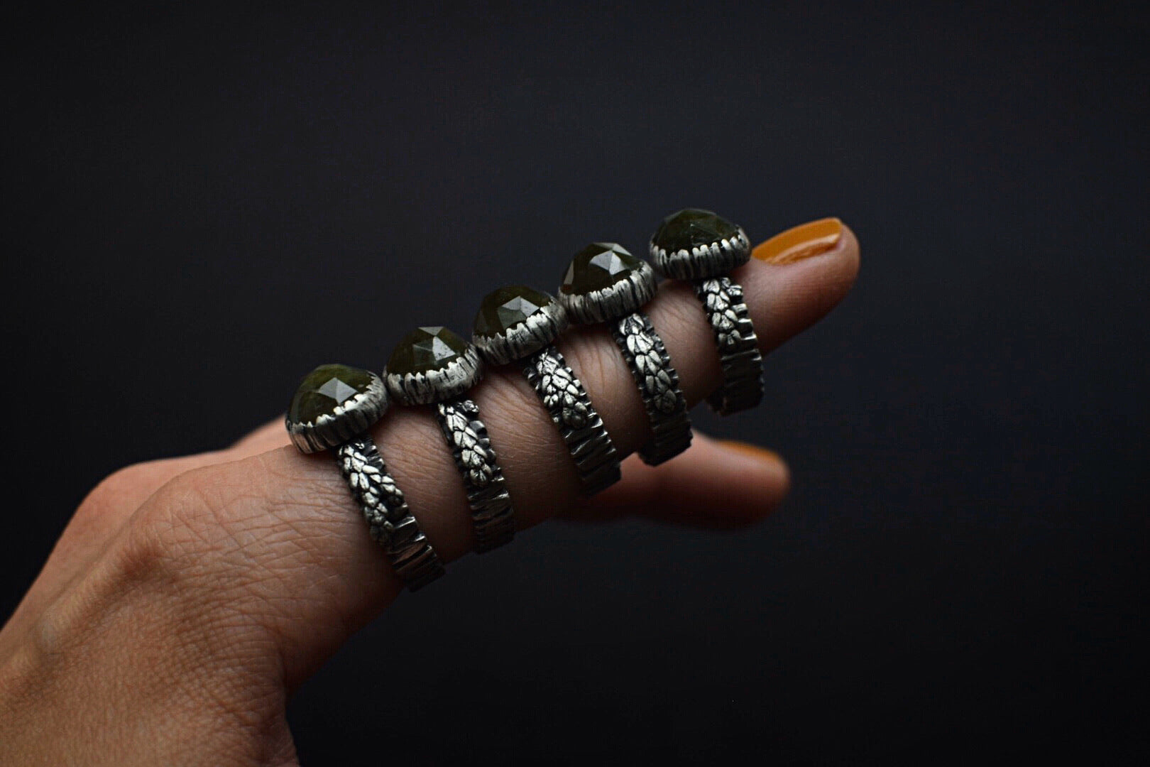 Vesuvianite Bark Fern Rings