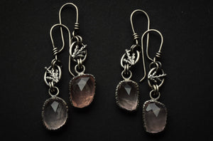 Rose Quartz and Fern Dangles