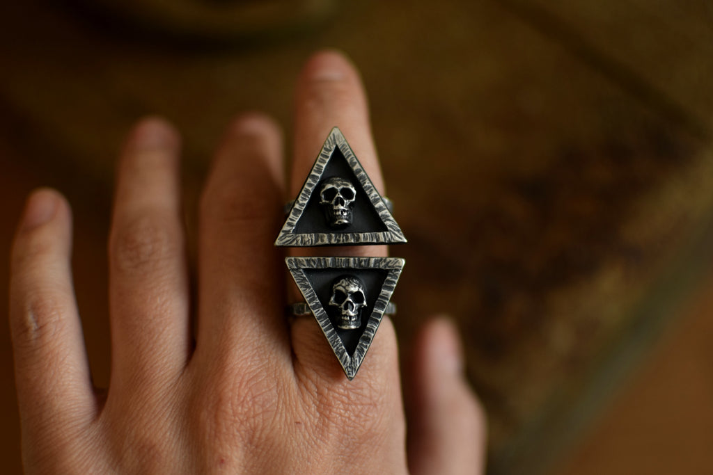 XMemento Mori Sterling Silver Ring - Skull Ring - Handcrafted Silver Jewelry