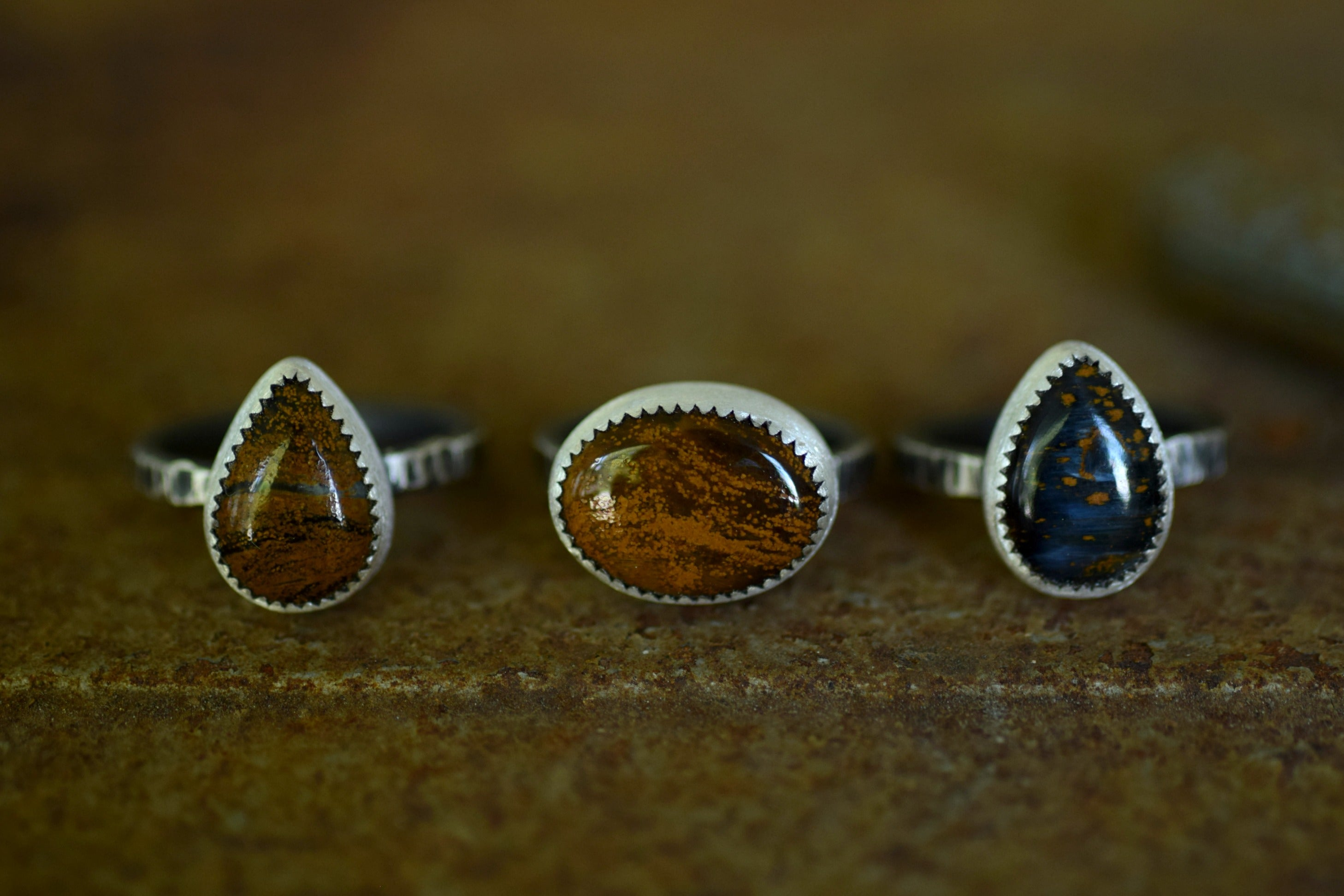 Sterling Silver Stacking Ring - Pietersite Ring - Ochre Stone - Autumn Fashion