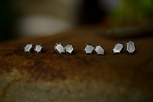 Rough Gem Studs - Sterling Silver - Faceted Silver Stones - Hand Fabricated - Silver Stud Earrings