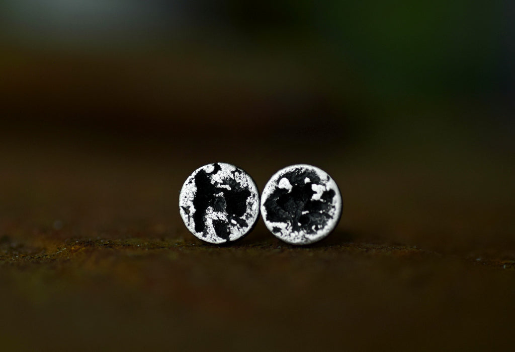 XSilver Moon Studs - Rough Circle Studs - Sterling Silver - Silver Moons - Moon Studs - Rustic Studs - Silver Studs