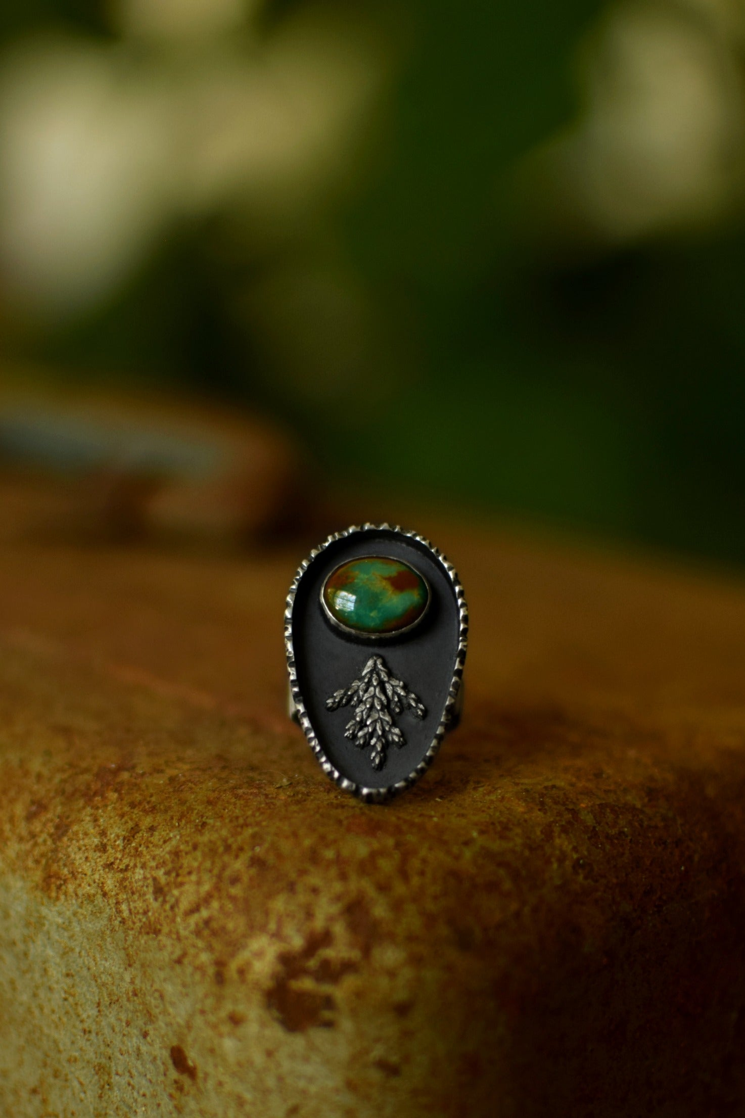 XRoyston Turquoise Ring - Silver Fern Ring - Woodland Jewelry - Tree Bark - Woodsy - One of a Kind
