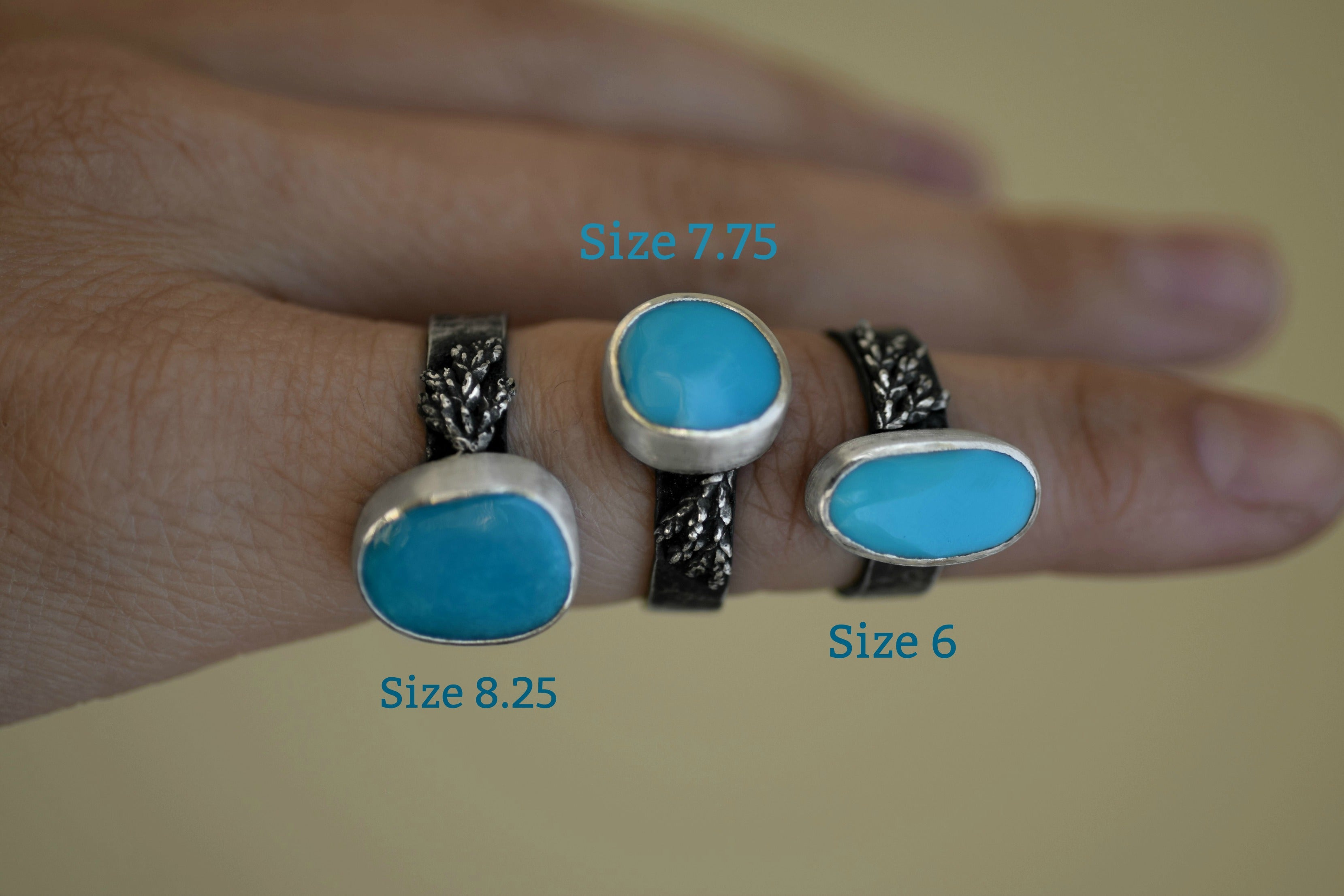XSleeping Beauty Turquoise Ring -Double Ferns - Silver and Turquoise - Size 8.25 - Turquoise Ring - Real Cast Fern - Woodland Ring