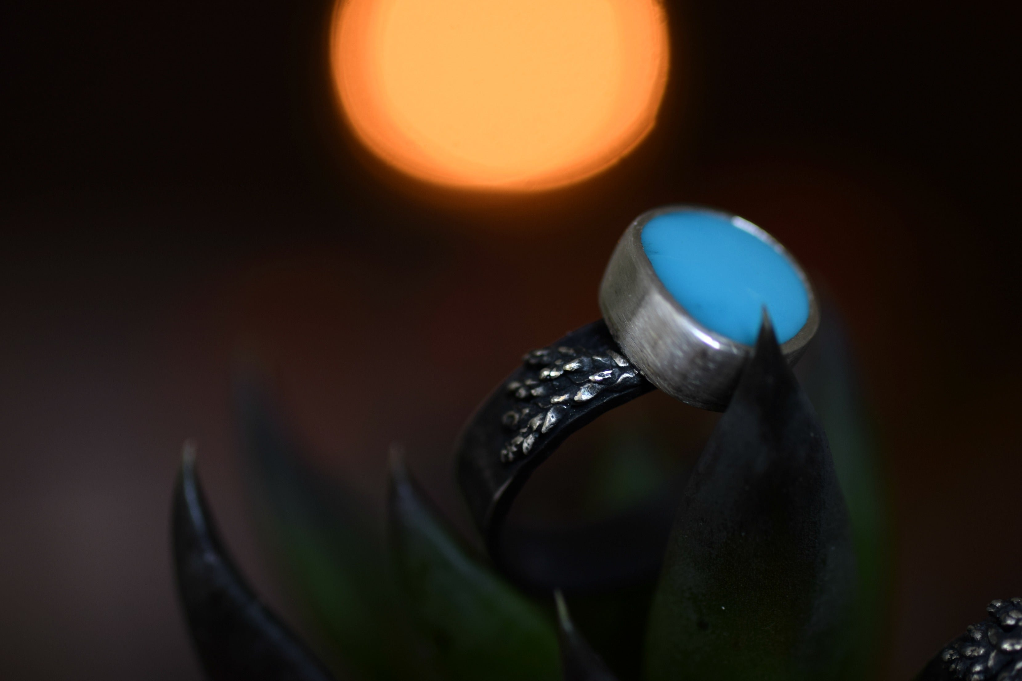XSleeping Beauty - Turquoise Ring - Silver and Turquoise -Woodland Wedding - Size 7.75 - Real Cast Fern - Woodland Ring - Statement Ring