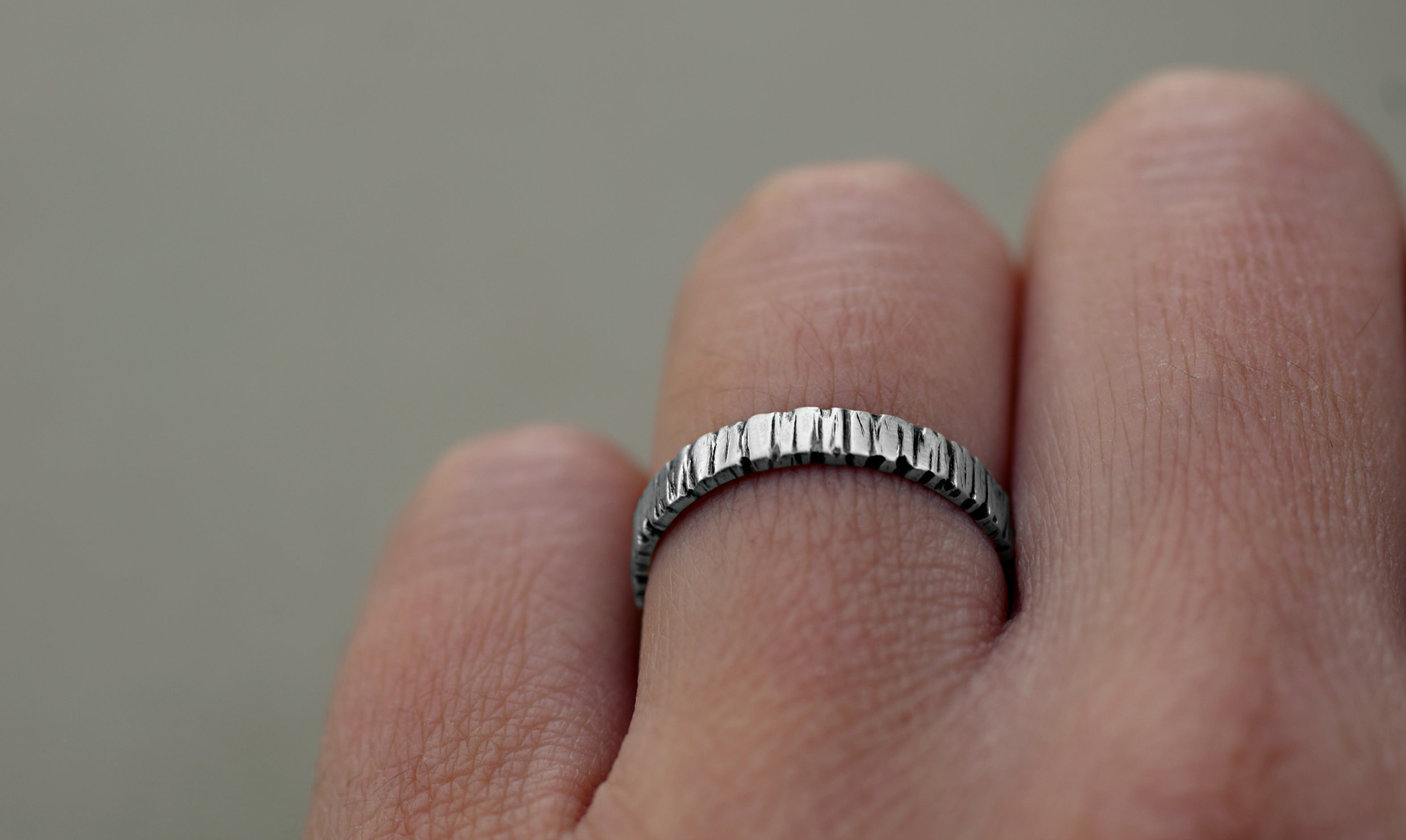 Tree Bark Band - Sterling Silver - 3mm Silver Ring Band - Bark Texture - Woodland Ring - Wedding Band