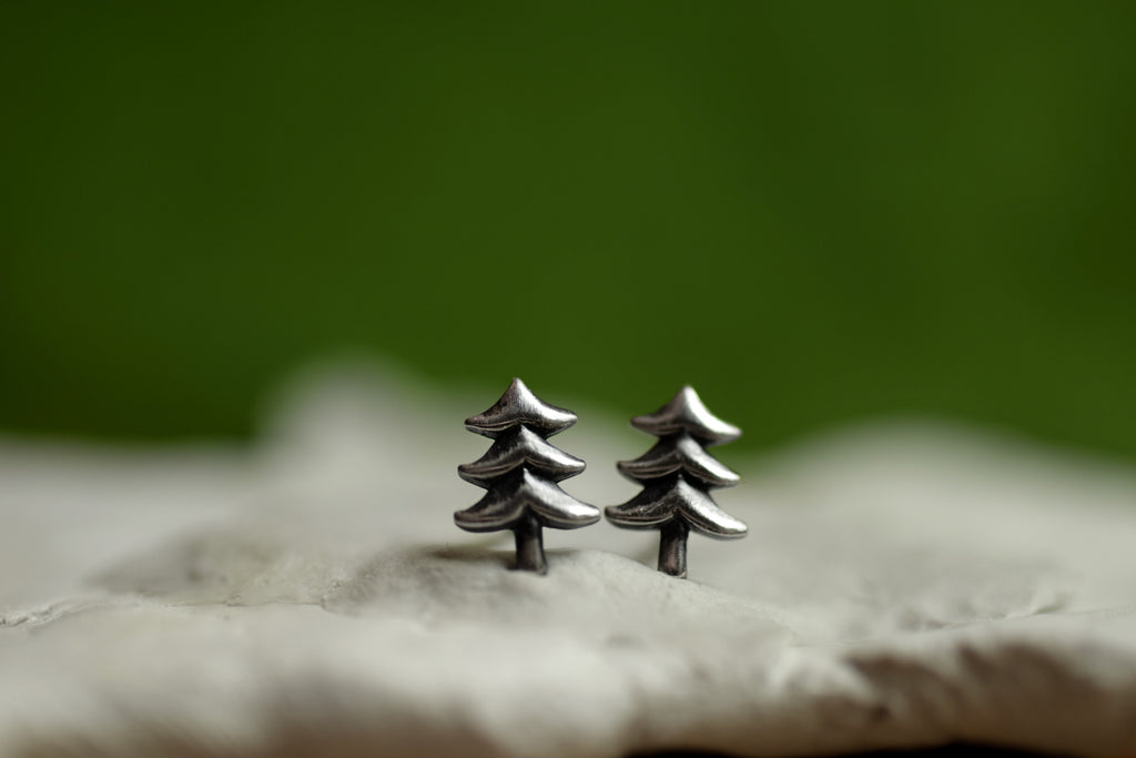 Evergreen Stud Earrings - Sterling Silver - Christmas Tree